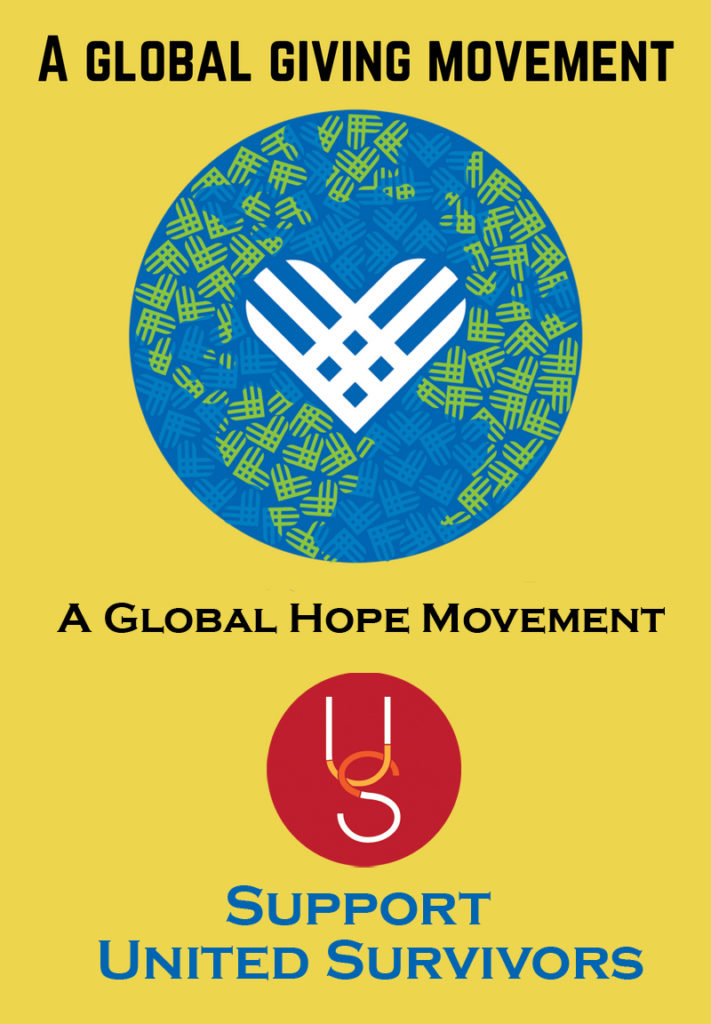 Logo for Giving Tuesday - Text says A Global Giving Movement, A Global Hope Movement - with United Survivors logo